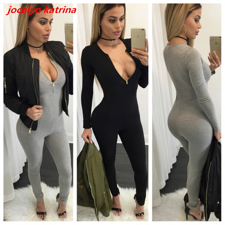 jocelyn katrina brand Women Jumpsuit Long Sleeve For Women Jumpsuits Sexy club Ladies Rompers Elastic Zipper V-neck Jumpsuits