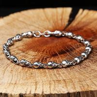 100% 925 Silver Skull Bracelet Vintage Sterling Silver Skeleton Chain Bracelet Real Pure Silver Skull Bracelet Jewelry Gift