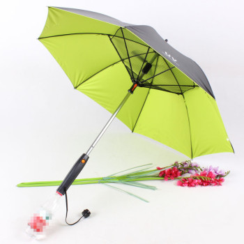 Long Handle Summer Umbrella | 4-color sunny and rain umbrella with fan and sprayer