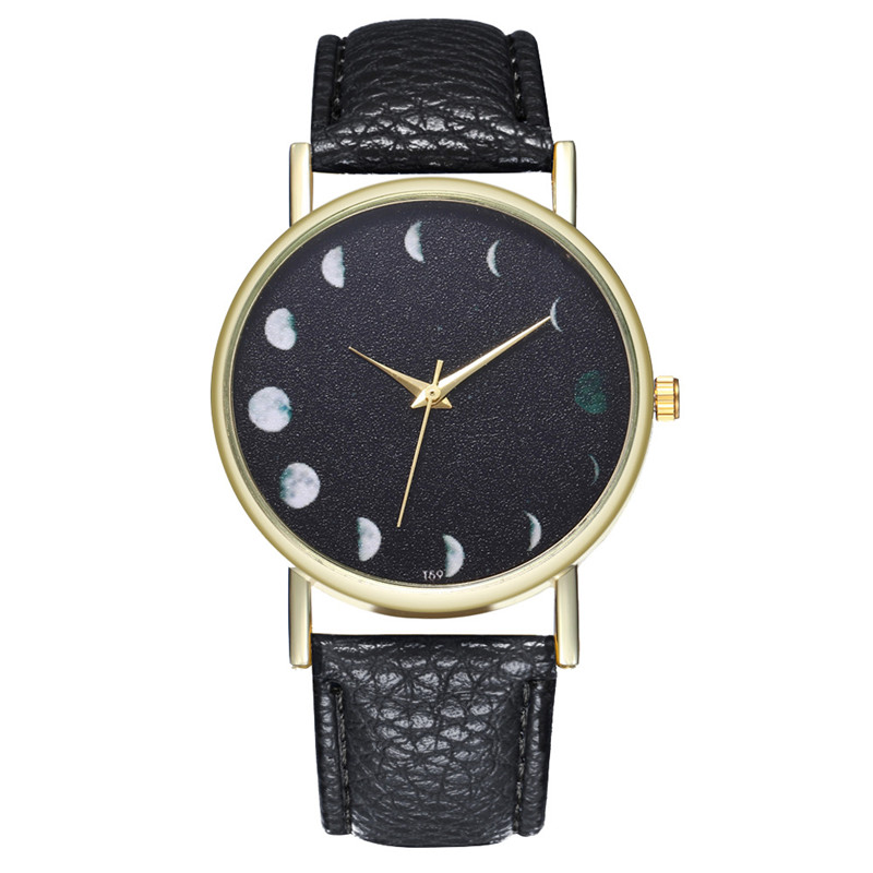 Watches Capable Mjartoria Stylish Quartz Watch Solar Moon Phase Lunar Eclipse Watch Women Pu Leather Bracelet For Dropshipping Clock Lady Watch Matching In Colour