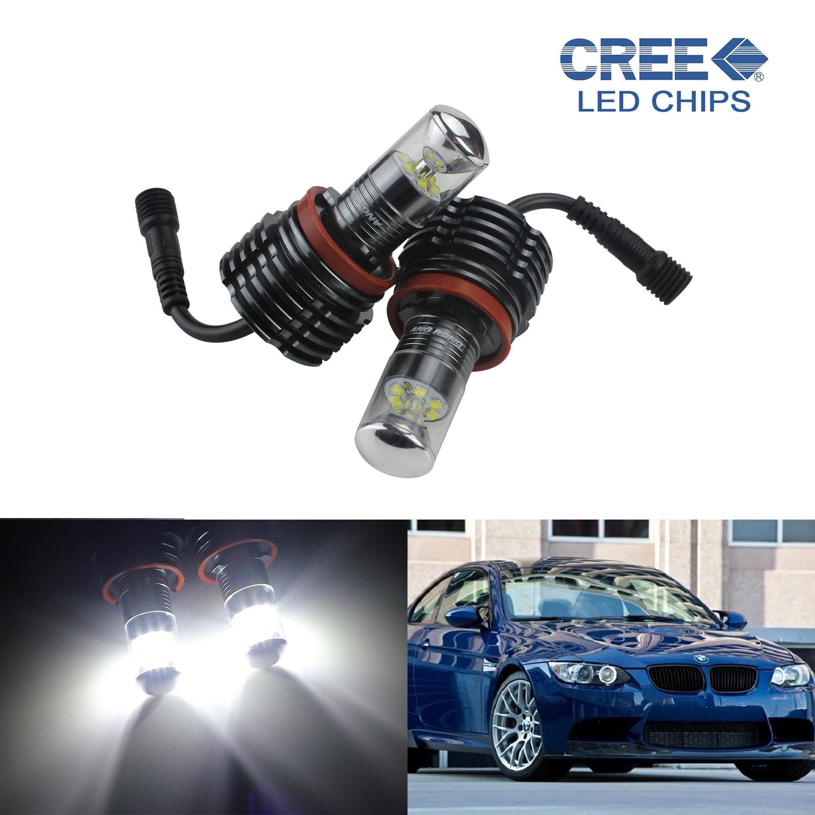 ANGRONG 2X For BMW H8 Bulb 30W C,ree LED White Angel Eyes Light E60 E61 E63 E64 E91 E90 LCI 6w angel eyes 2 led red light bulb for bmw e90 e91 pair 8 30v