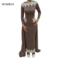 Sheath Ankle Length Long Sleeves Evening Dresses With Appliques Lace Arabic Women Formal Gowns Jersey Wear SS162