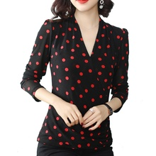 Womens Tops and Blouses Chiffon Shirt V-neck Retro Wave Point Casual Top Slim Thin Section Female Long Sleeve Shirts Blouse