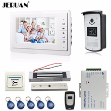 JERUAN 7 pulgadas video de la puerta sistema de intercomunicación del teléfono kit de monitor en blanco 700TVL Cámara 180Kg cerradura Magnética de Acceso RFID ENVÍO GRATIS