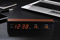 LED Alarm Clock USB Charge with Snooze Function Digital Table Clock Electronic Wooden Clock Temperature Humidity Display