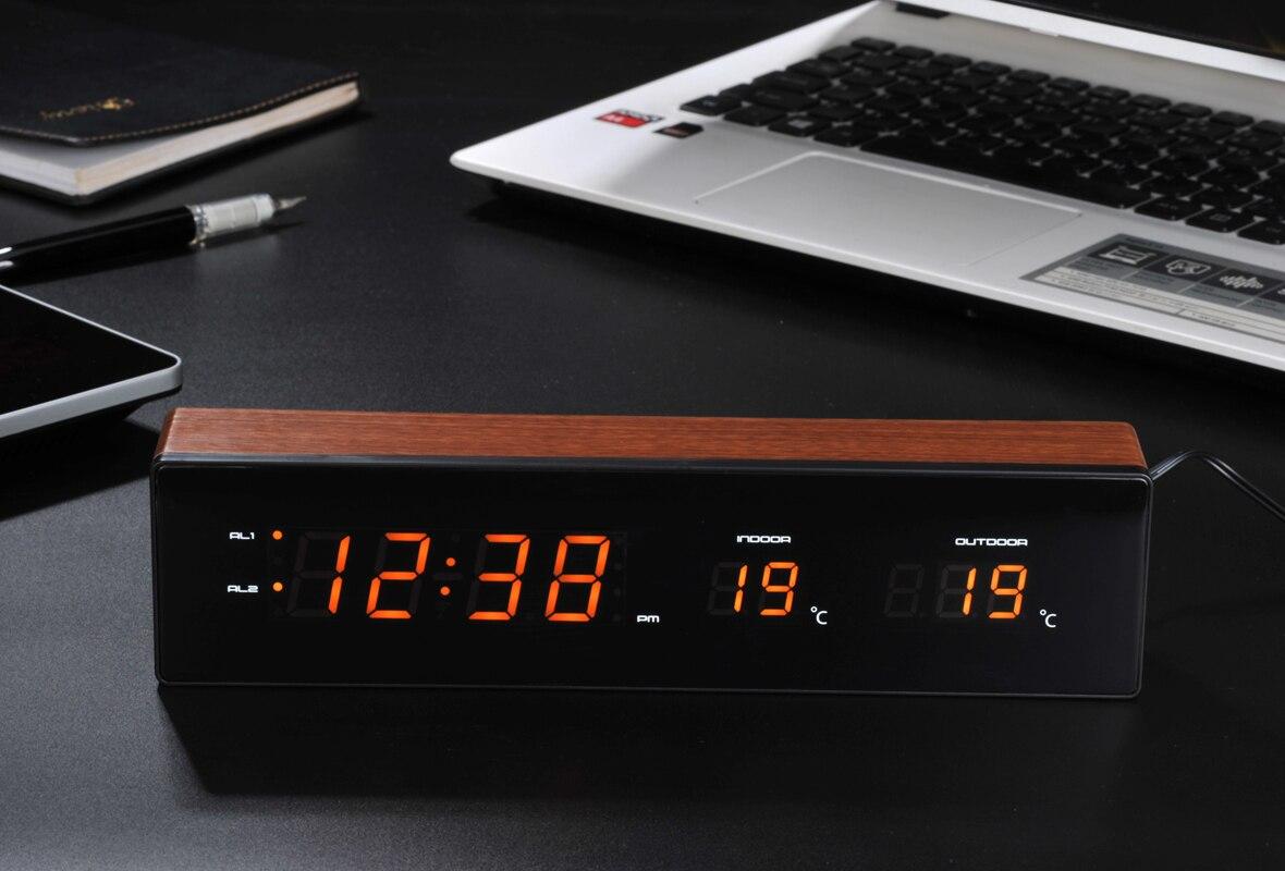 LED réveil USB Charge avec fonction Snooze horloge de Table numérique électronique en bois horloge température humidité affichage