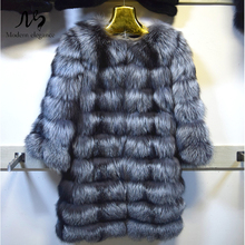 Real Silver Fox Fur Coat Fashion Luxury Women Real Fur Genuine Silver Fox Fur Coats Winter Warm Jacket Female Natural Fur Coat