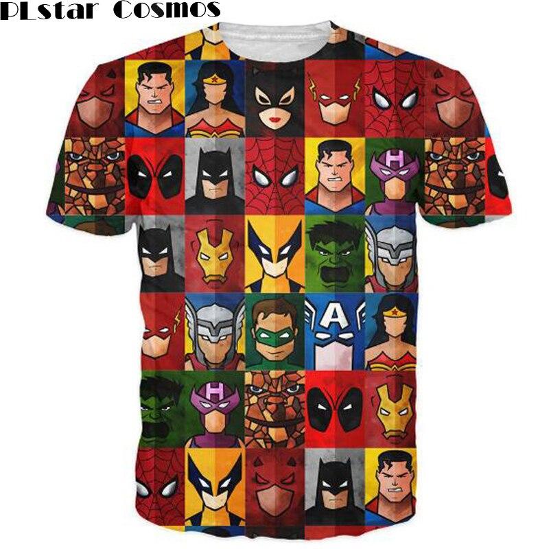 PLstar Cosmos Superhero Minimalism T-Shirt from Marvel universes cartoon character 3d unisex print women men fashion t shirt