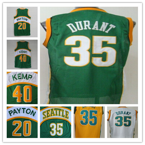 bcfc3167f028 Cheap Best Quality Seattle Sonics Jersey  35 Kevin Durant  20 Gary Payton   40 Shawn Kemp Green White Throwback Basketball Jersey