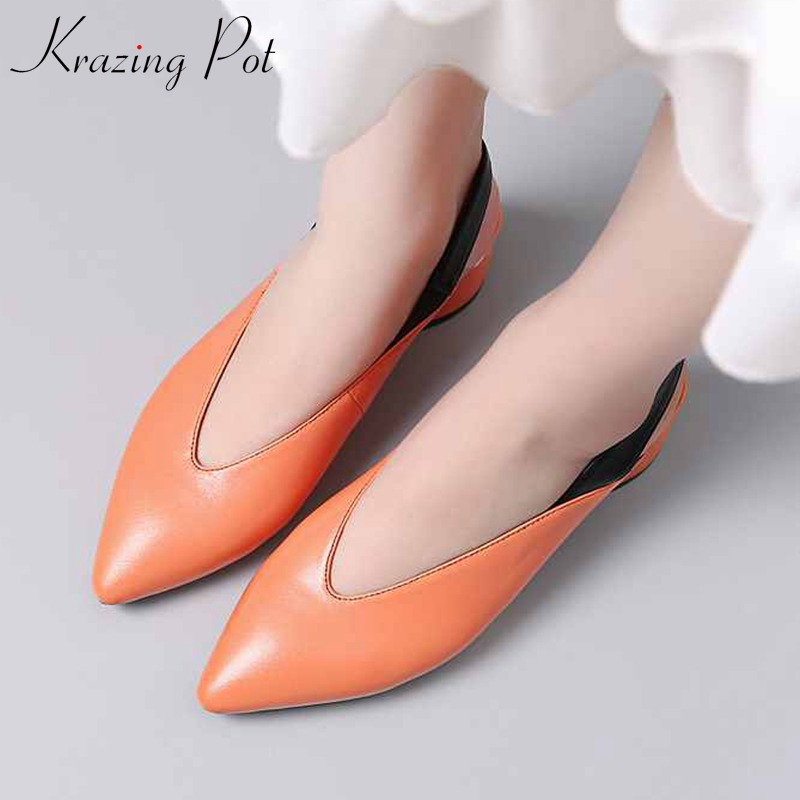 Krazing Pot popular sheep leather med heels elastic band pointed toe brand British style slingback big