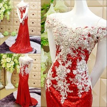 Custom Made 2015 New Design A line Luxury Crystal Evening Dress robe de soiree Long Lace Gown SW1