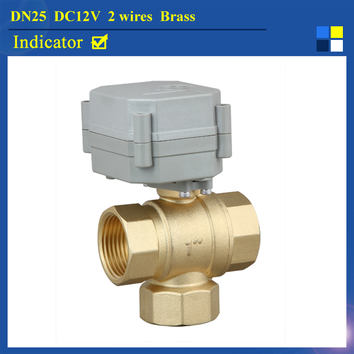 1 DC12V 2 wires electric valve 3-way T type NPT/BSP with position indicator for water heating HVAC air conditional 1 dc12v 2 wires 3 way electric valve t type 2 wires manual override available for water heating hvac air conditional