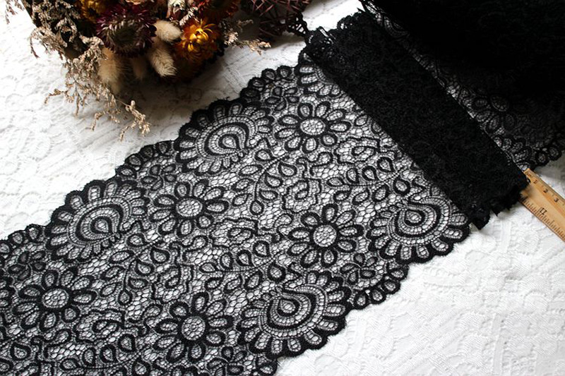 HTB1tMajblsmBKNjSZFsq6yXSVXal New Arrival 3Yards 22cm Black White Lace Fabric DIY Crafts Sewing Suppies Decoration Accessories For Garments Elastic Lace Trim
