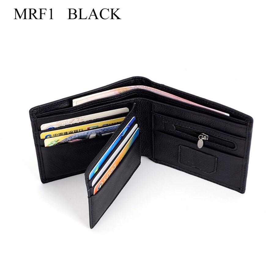 MRF1 RFID блокирующий кошелек мужской кошелек из натуральной кожи защита от кражи идентификационных данных RFID кошелек мужской кошелек для кредитных карт винтажный кошелек - Цвет: Черный