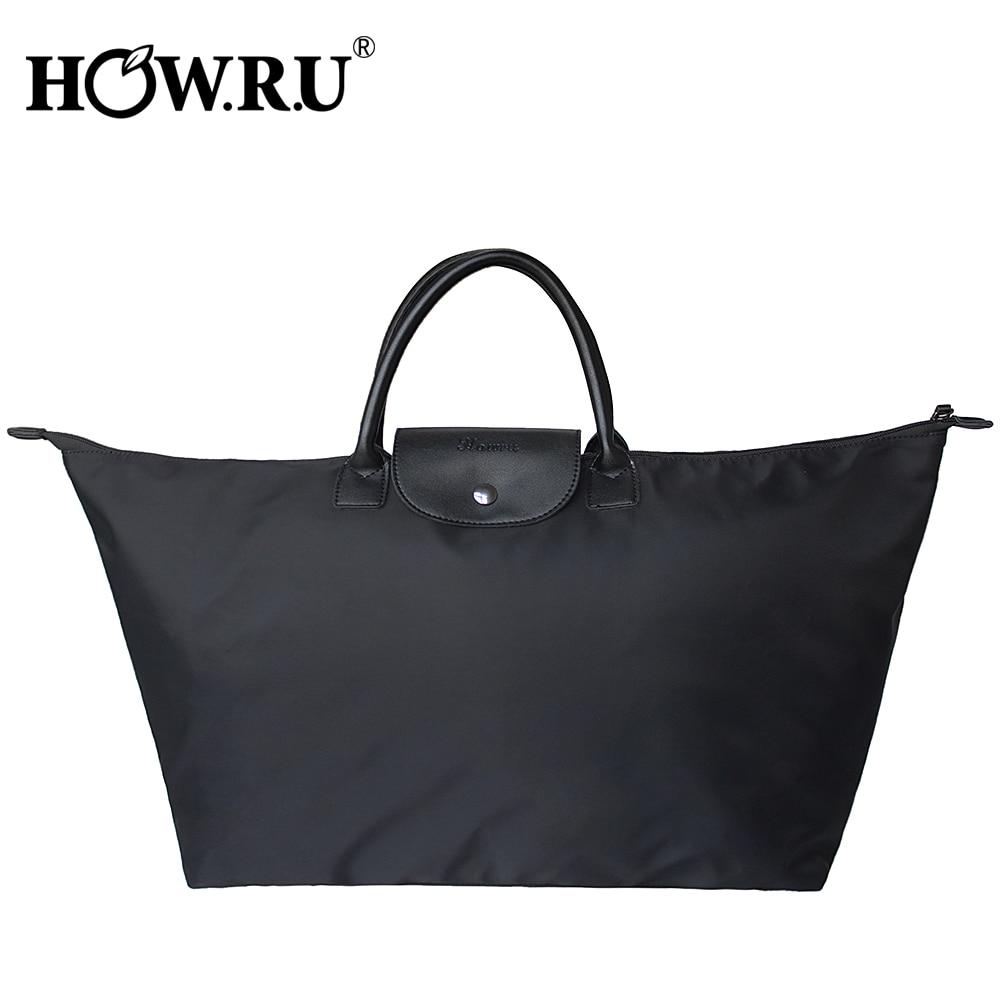 1a08ef4b5 HOWRU plegable gran Oxford bolso de gran capacidad Shopper Tote bolsas de  viaje mango superior diseñador bolsas de Nylon vagabundos bolsos