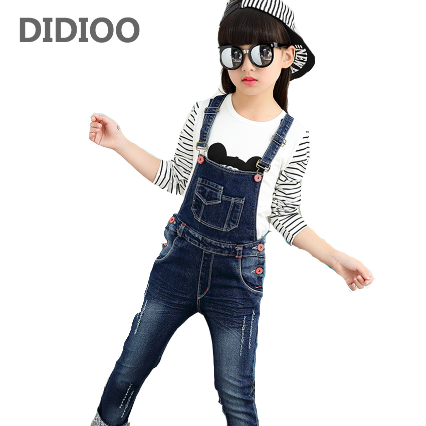 Girls Jeans Pants Autumn Kids Denim Overalls for Girls Jumpsuit Children Trousers Girls Suspenders Pants 4 8 9 12 Years Overalls free shipping 2018 jeans fashion plus size 24 30 pants for tall women high quality overalls jumpsuit and rompers denim trousers