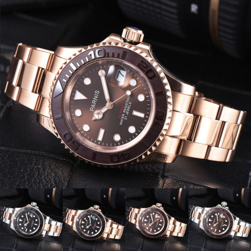 41mm parnis Brown Black Dial Sapphire Glass Luminous Marks 21 jewels Rose Golden Plated miyota Automatic Mechanical mens Watch41mm parnis Brown Black Dial Sapphire Glass Luminous Marks 21 jewels Rose Golden Plated miyota Automatic Mechanical mens Watch