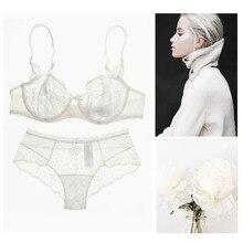 Brand lingerie set sexy lace sexy transparent ultra-thin female underwear bra set fashion white sexy brassiere set