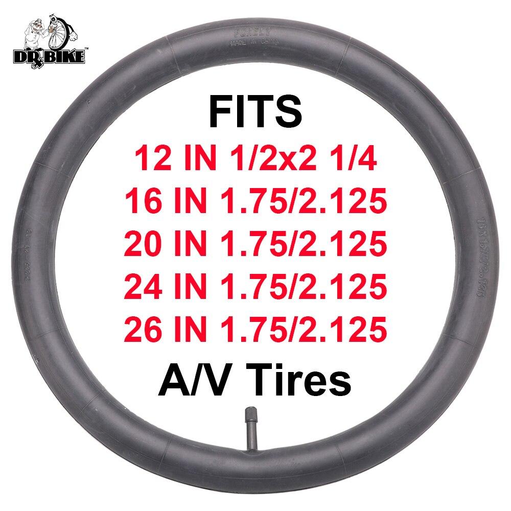 Pneu de vélo 12/16/20/24/26 pouces chambres à air Schrader pneus 1.75/2.125 pouces largeur vélo vélo pneu en caoutchouc Tube pour vtt