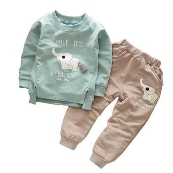 цены Spring Autumn Children Clothing Suits Baby Boys Girls Cartoon Elephant Clothes Kids Cotton Sets Toddler T-Shirt Pants 2Pcs/sets