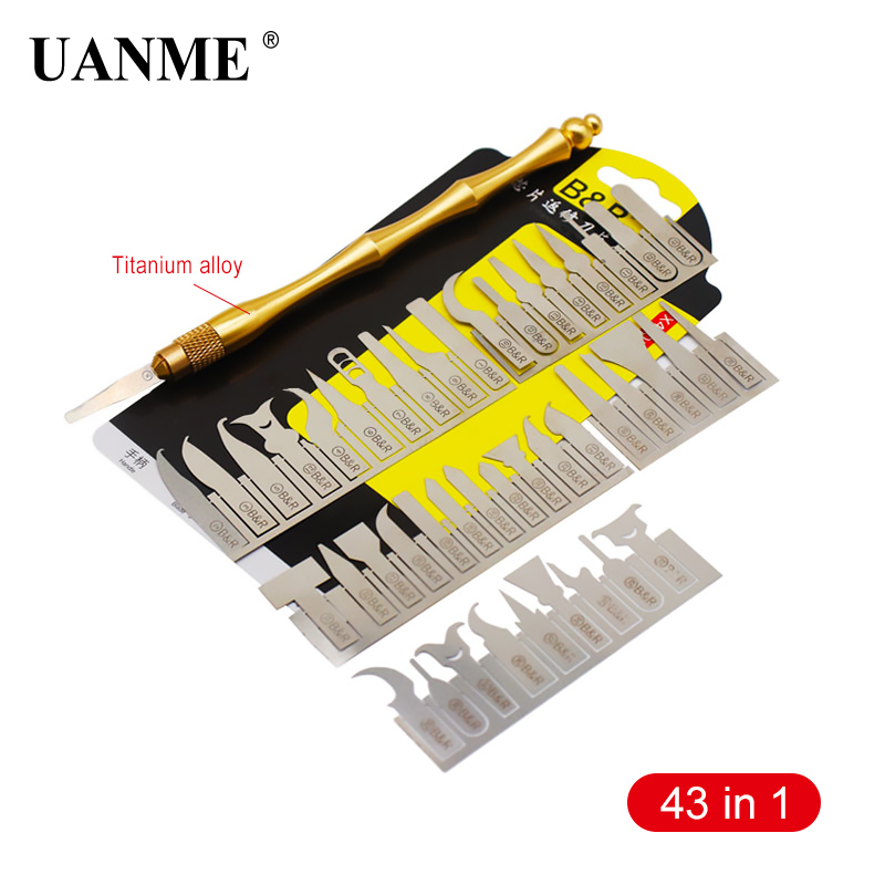 UANME 43in1 BGA Maintenance Knife For iPhone CPU NAND CHIP IC Remove Glue Disassemble Rework Blade