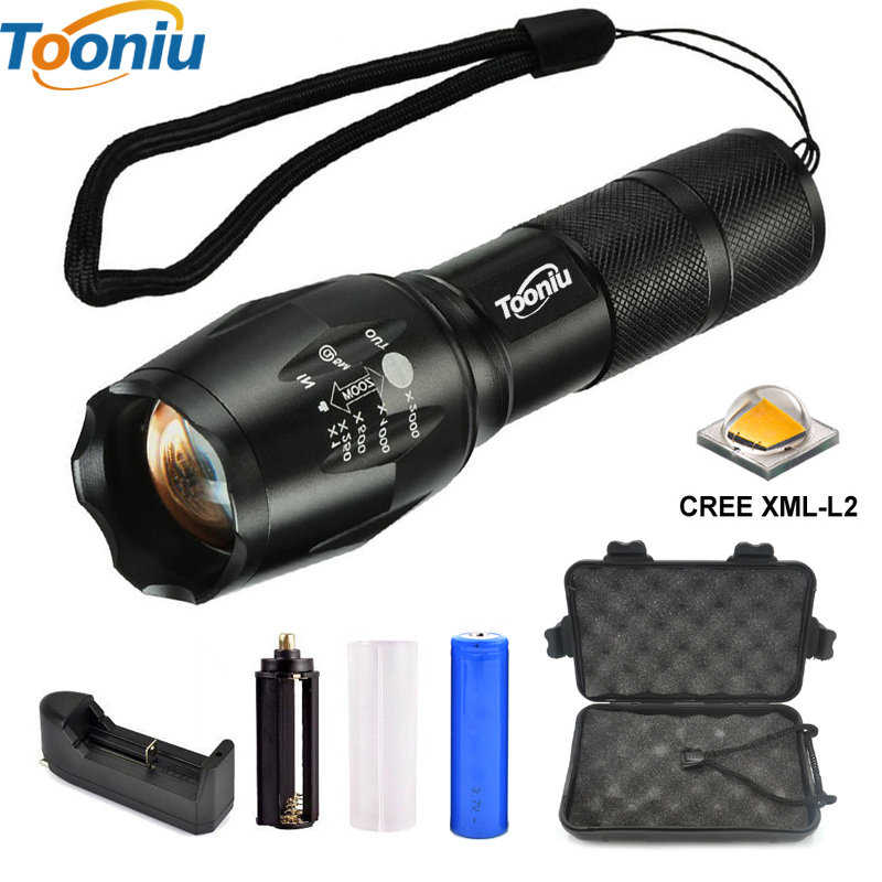 DZ40 LED Tactical Flashlights E17 LED Flashlight 18650 Zoom Torch Waterproof Flashlights XM L T6 5