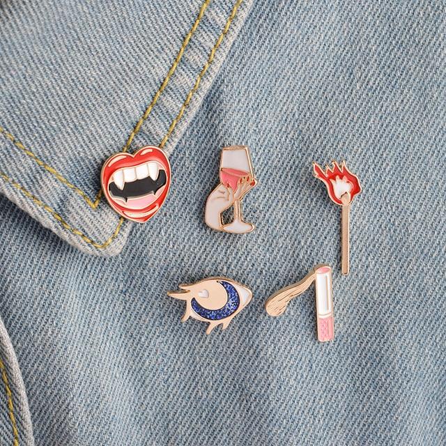 5 pcs/set Smoke Eye Red lips Wine Hand Matches Brooch Enamel Vampire Girl Pin Button Bag Shirt Jacket Collar Badge Jewelry Gift