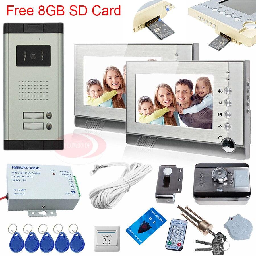 Video Door Phone Intercom With A Card 8GB Video Recording Rfid Electronic Door Locks For Metal Doors Wooden Doors 2 Apartments