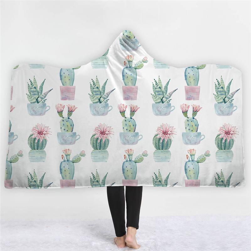 Sugar Skull Printed Flamingo Plant Microfiber Hooded Blanket for Adults Kids Warm Fleece Wearable Throw Blankets on The Sofa Be