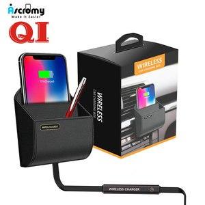 Image 1 - QI araba kablosuz şarj cihazı şarj pedi standı hava firar telefon tutucu standı Apple iphone XS Max X XR 8 artı Samsung S9 S8 S10