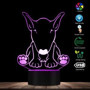 Image 3 - لطيف الكلب الراعي شكل تصميم تخصيص اسم 3D الوهم البصري ليلة ضوء مصباح LED متوهج البصرية مصباح الحيوانات الأليفة جرو عاشق هدية