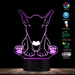 Image 3 - Carino Forma di Cane Da Pastore Disegno per Il Cliente di Nome 3D Optical Illusion Luce di Notte Incandescente LED Visivo Lampada Pet Puppy Lover Regalo