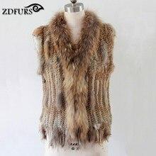 Здесь можно купить  2016 rabbit fur knitted vest fur waistcoat colorful rabbit raccoon fur sweater vest