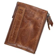 Cowhide Leather Men Wallets Short Design Wallets Coin Purses