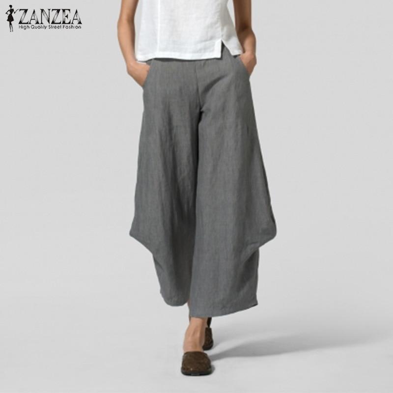 ZANZEA 2020 Vintage Solid Turnip Pants Women Casual Pant Elastic Waist Wide Leg Trousers Female Ruffle Work Pantalon Palazzo