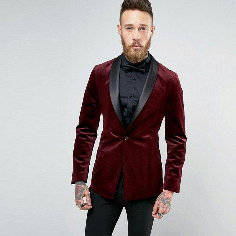 Burgundy Velvet Smoking Jacket Men Suits For Wedding Black Shawl Lapel Groom Tuxedo 2Piece Best Man Blazer Slim Terno Masculino