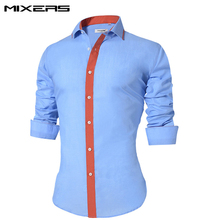 2018 Brand Men's Blue Casual Shirt Long Sleeve Slim Fit Cotton Dress Shirts Men Plus Size Button Social Blouse Camisa Masculina