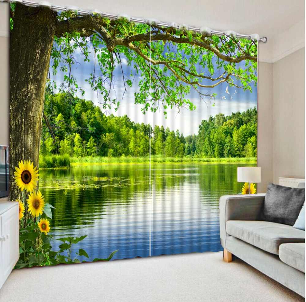 Digital Photo Printing Blackout 3D Curtain for Living Room Bedding Room Cortinas Scenic woods lake chrysanthemum 3D Curtains