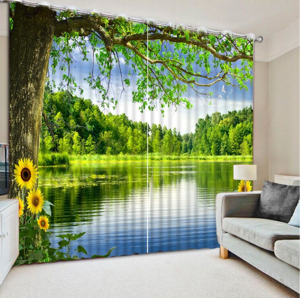 Digital Photo Printing Blackout 3D Curtain for Living Room Bedding Room Cortinas Scenic woods lake chrysanthemum 3D CurtainsDigital Photo Printing Blackout 3D Curtain for Living Room Bedding Room Cortinas Scenic woods lake chrysanthemum 3D Curtains