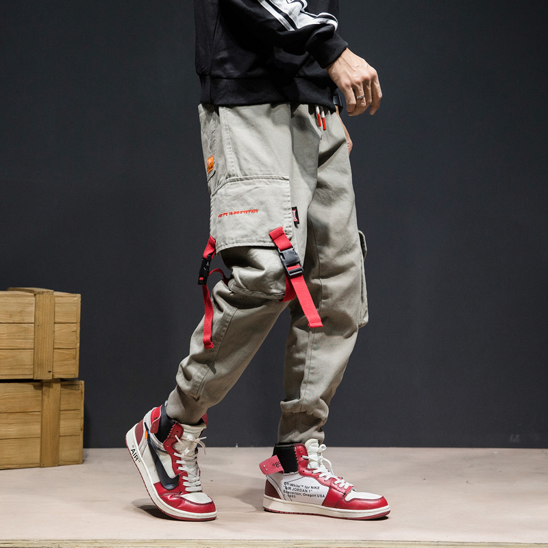 Japanese Style Fashion Joggers Pants Men Slack Bottom Big Pocket Cargo Pants Large Size M-5XL Streetwear Hip Hop Casual Pants
