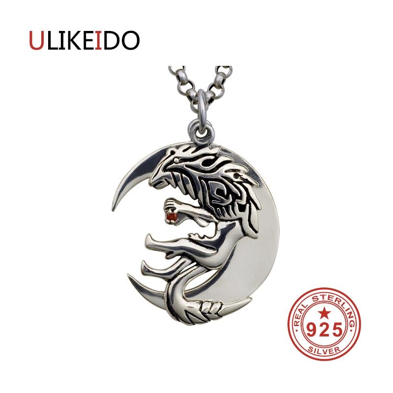 Pur 925 bijoux en argent Sterling croissant loup charmes Punk pendentifs pour hommes et femmes Thai argent collier chaîne Fine cadeau 1326