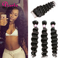 Brazilian Loose Deep Wave With Closure Loose Curly Virgin Hair Queen Hair Products With Closure 3 Bundles Brazilian humanhair
