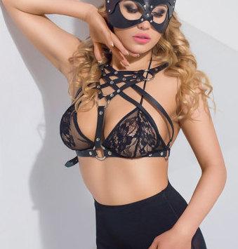 Bra lingerie Fetish, Fetiche de arnés, arnés de BDSM, Dominatrix, Arnés de Cuero Sujetador, ropa interior de Cuero servidumbre bra, sujetador de encaje, bralette, Fetiche