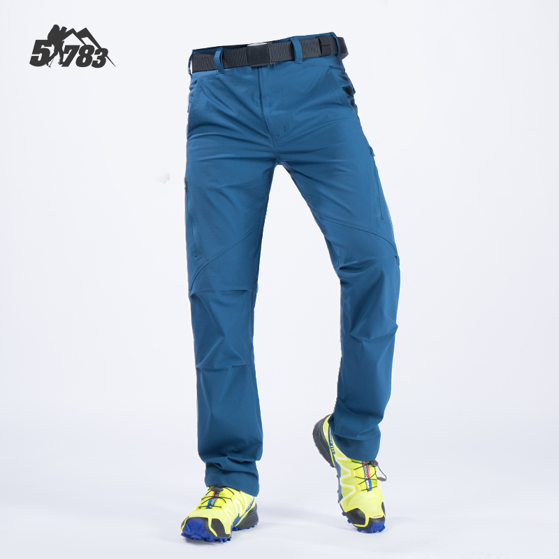 Mens Summer Outdoor Sports Fast Dry Thin Tactical Pants Nylon Spandex Blend Indigo Blue Quick Drying Stretch Trousers for Hiking