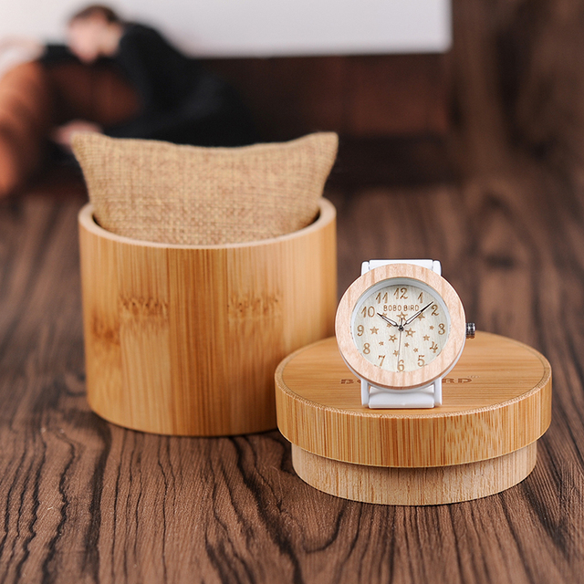 BOBO BIRD Luxury Wood Watches Women Fashion Casual Silicone Strap Wrist Watch La