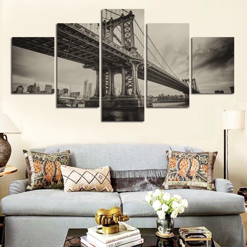 High definition gedrukt zwart wit viaduct canvas painting kantoor ...
