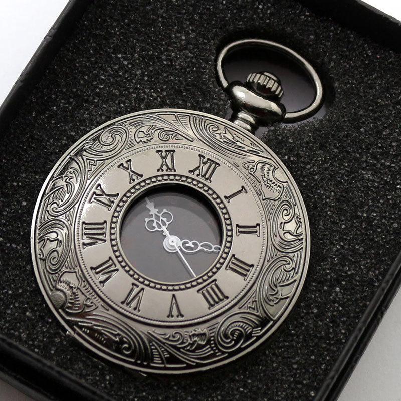Retro Black Fullmetal Steampunk Spider Web Potter Attack On Titan Style Quartz Pocket Watch Men FOB Clock Chain + Gift Box