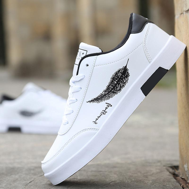 Men Shoes Plus Size White Tenis Masculino Breathable Men Sneakers Leather Male Shoes Feather Pattern Wearproof Lace-up Shoes Men