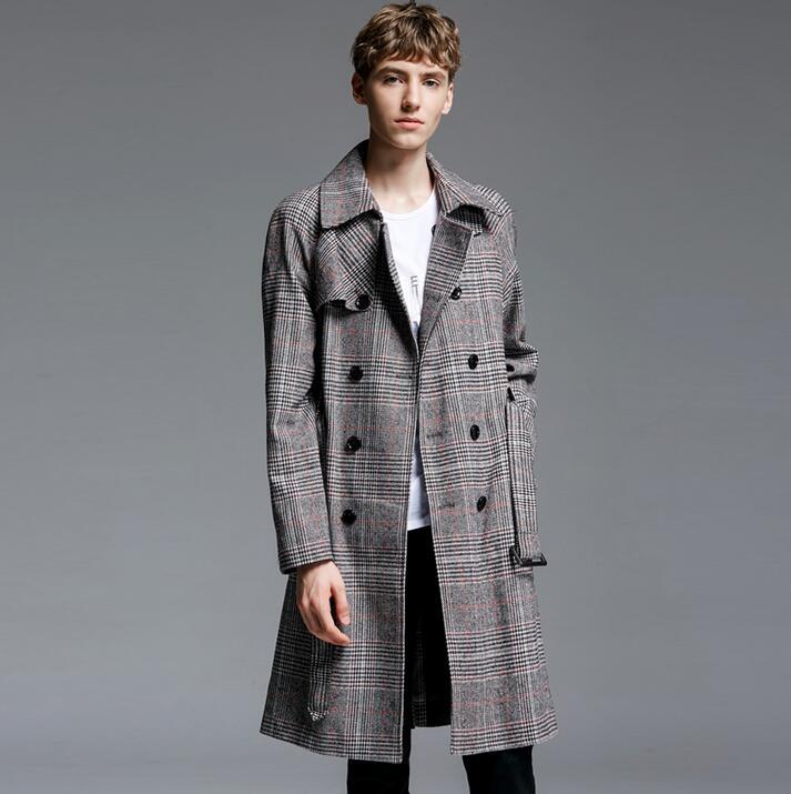 Medium-long plaid trench coat men 2019 spring autumn fashion vintage double breasted coats mens overcoat long-sleeve plus size Рубашка