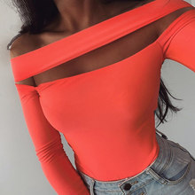Fluorescent Strapless Women Summer Sexy One-shoulder Long Sleeve Bodysuit Casual Rompers Solid Color Slim Overalls SJ2425U(China)